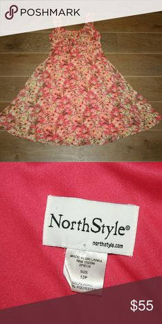 Northstyle Floral Dress 12P Northstyle Floral Dress Size 12P Fully lined Rusched waistline Zip back Flirty circle skirt Easy care polyester EUC  Sunday brunch, wedding, special occasion dress Northstyle Dresses Midi