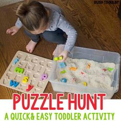 What a great quick and easy toddler activity! Make a puzzle hunt sensory bin for a perfect indoor toddler activity! An easy toddler sensory bin.