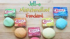 Marshmallow Fondant Jell-O Marshmallow Fondant: per color 2 oz Marshmallows lb Powdered Sugar 4 tsp. Jello Mix Little bit of waterJell-O Marshmallow Fondant: per color 2 oz Marshmallows lb Powdered Sugar 4 tsp. Jello Mix Little bit of water Marshmallow Fondant, Jello Fondant, Fondant Icing, Fondant Tips, Chocolate Fondant, Making Fondant, Chocolate Chips, Cakes With Fondant, How To Use Fondant