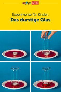 """Unser heutiges Kinderexperiment zeigt, wie sich das Volumen von warmer Luft verändert, wenn sie abkühlt. Für das Wasserexperiment benötigt ihr 1 Glas, 1 kleine Schale, 1 Teelicht, Feuerzeug und Wasser. In dem Experiment für Kinder erlischt die Flamme nach kurzer Zeit und das Wasser wird ins Glas """"gesaugt"""". Das Experiment macht nicht nur Kindern Spaß, auch Erwachsene kommen hier ins Staunen. #experiment #experimentefürkinder #kinderexperiment #wasserexperiment"""