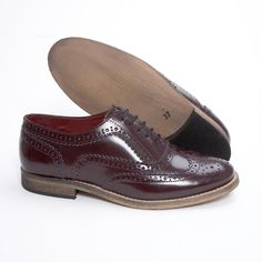 Delicious Junction Ladies Womens Leather Brogue Ox Blood Bordeaux