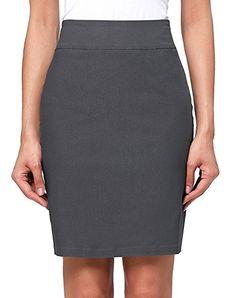 a59e32ac935 Kate Kasin Women s Stretchy Cotton Pencil Skirt Slim Fit Business Skirt   Amazon.com