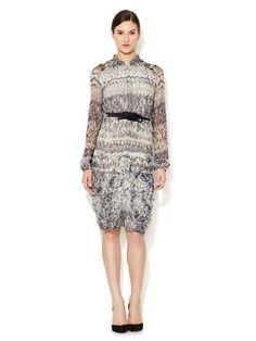 Printed Silk Chiffon Shirt Dress-Carolina Herrera