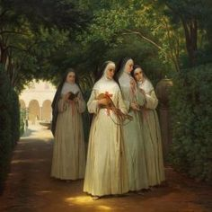 "[New] The 10 Best Home Decor Today (with Pictures) - ""Nuns walking in a cloister garden in Rome"" circa 1866 by Danish artist Jorgen Valentin Sonne. Catholic Art, Roman Catholic, Religious Art, Nuns Habits, Religion Catolica, Bride Of Christ, Sacred Art, Christian Art, Kirchen"