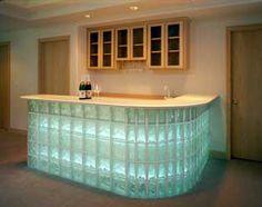 Glass Block Bar - Home Ideas Wet Bar Basement, Basement Bar Designs, Pittsburgh, Coffee Bars In Kitchen, Bar Kitchen, Summer Kitchen, Add A Bathroom, Ikea Bar, Glass Block Windows