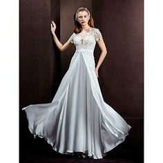 A-line/Princess Jewel Floor-length Lace And Satin Chiffon Wedding Dress (1483960) – USD $ 179.99 plus sizes
