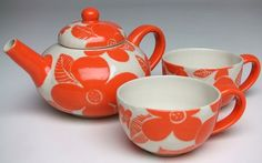 Bright Orange Floral Tea Set