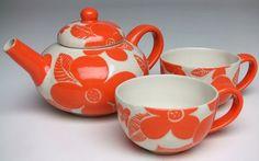 Bright Orange Floral Tea Set
