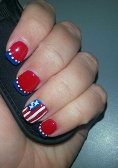 Patriotic Nails; red, white & blue nails; 4th of July nails