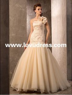 Trumpet/Mermaid One Shoulder Sweep/Brush Train Lace And Tulle 2014 Wedding Dress [WDF-41] - US$269.00 : luvudress