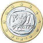 1 € GreciaUna civetta, animale sacro ad Atena, così com'era raffigurata in un'antica tetradracma ateniese del V secolo a.C.