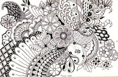 Jeanie, I remember doodling like this in class in High School, do you? Now they call it zentangle ! Doodle Coloring, Colouring Pages, Adult Coloring Pages, Doodles Zentangles, Zentangle Patterns, Zen Doodle, Doodle Art, Pastel Crayons, Doodle Designs