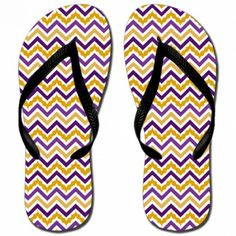 Katydid Purple & Gold Chevron Fashion Women's Flip Flop  Designed by Katydid  flip flops are unisex sizing.  please note that women's will run wide. sizes :  XS (Women's 5-6)  S (Women's 7-8)  M (Women's 9-10)  L (Women's 11-12)  rubber straps and sole