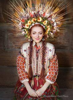 Beautiful Ukrainian woman with fabulous embroidered garment and headdress!