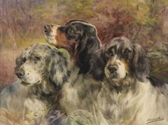Edmund Henry Osthaus watercolor of three Pointers