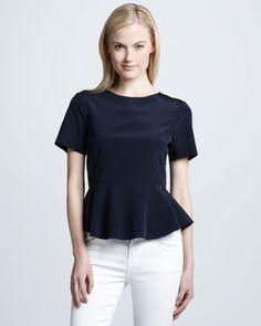 Peplum Waist Stretch-Silk Blouse by DKNY at Neiman Marcus. $215