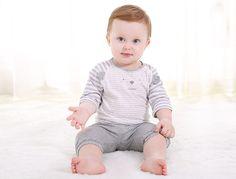 ciciibear Baby Set: Striped T-Shirt + Capri Pants | YESSTYLE