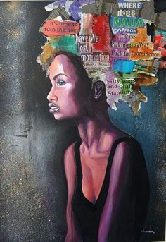 I love how the artist presents her self identity in this piece. Natural - Art @ ndigoart.com African American Art