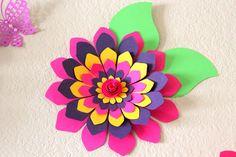 Flores de papel gigantes, multicolores, flores para bodas - arte de la pared de flores - flores de la boda - telón de fondo de flor