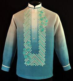 Monochromatic Blue Green Barong Tagalog - Barongs R us Choir Dresses, Barong Tagalog, Filipiniana Dress, Filipino Fashion, Philippines Fashion, Fashion Brand, Mens Fashion, Chinese Collar, Line Shopping