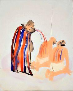 Tala Madani, Man in Cape,  2008,  oil on linen, 15. 7 x 19.7 inches