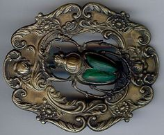 FABULOUS ANTIQUE 1920'S DIMENSIONAL BRASS & CARVED GLASS BEETLE SCARAB SASH PIN
