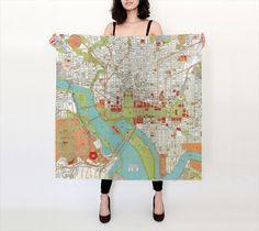 Washington DC Silk Scarf , Vintage map of Washington DC - Conversation Piece women' s apparel scarf, colorful, beautiful, unique