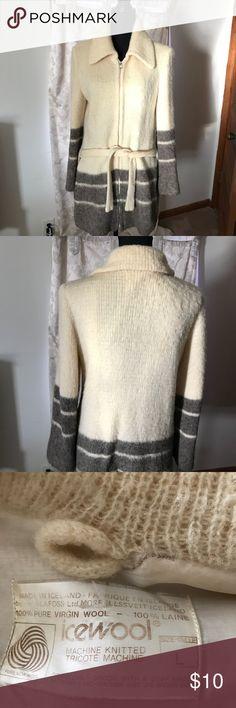 Ladies real pure wool sweater jacket Heavy real pure wool ladies sweater jacket. Has pockets and a heavy duty zipper. Sweaters Cardigans