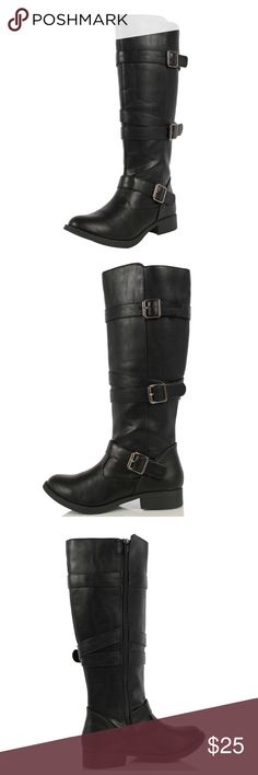"""Black Strappy Knee High Low Heel Riding Boot Be in style with these strappy riding boots featuring round toe, adjustable buckle straps, faux leather material, and non skid rubber soles. Shaft height including heels 17"""" and opening circumference 15 1/2"""". True to Size Shoes Combat & Moto Boots"""
