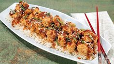 General Tso\'s Cauliflower~Daphne  Oz recipe.  Omit soy