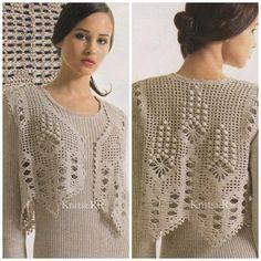 Photo from album Chevron Crochet Patterns, Crochet Vest Pattern, Crochet Coat, Crochet Blouse, Lace Patterns, Filet Crochet, Crochet Clothes, Clothing Patterns, Bordados E Cia