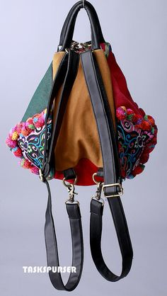 Backpack /Book Bag/ Handmade Hmong /Vintage Fabric by TASKSPURSER