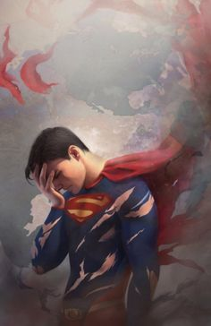 THIS IN A WAY IS SHOWING A SEXY HUMAN SIDE OF THE MAN INSIDE.....Tired Superman by FionaMeng