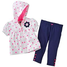 Carter's Dotted Hooded Cardigan and Pants Set - Baby