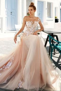 Blush chiffon and lace
