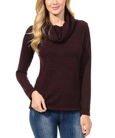 Another great find on #zulily! Magic Fit Wine Marled Cowl Neck Sweater by Magic Fit #zulilyfinds