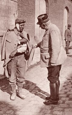General Joffre sympathising with one of his wounded soldiers during World War I. Joseph Jacques Cesaire Joffre, 1852 to 1931. French general, Commander-in-Chief of the French Army. From The Illustrated War News 1915.