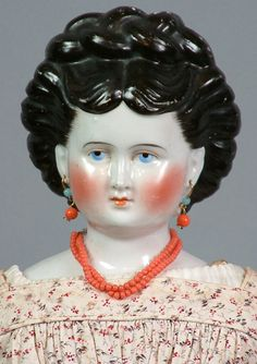"""Utterly Extraordinary China Lady On Original Leather Body 22"""" With Braided Bun upswept Hair!"""