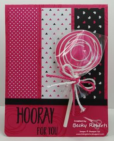 hot pink with black and white . Stampin' Up! Scrapbooking, Scrapbook Cards, Stampin Up Catalog, Bird Cards, Stamping Up, Rubber Stamping, Cute Cards, Cards Diy, Paper Cards