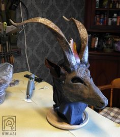 Baphomet goat mask in progress (WIP mask costume) by Nymla www.nymla.se