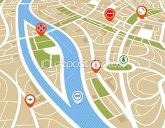 Perspective background of abstract city map with symbols — Stock Illustration #8746700