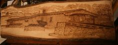 Covered Bridge Wood Burning on Hickory by hippiescreations on Etsy, $350.00