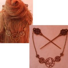 Tree of Life Hair Sticks, Gold Celtic Hair Sticks, Barrette, Hair Pins, Chopsticks, Hair Jewelry, Hair Sticks with Chains, Celtic Jewelry Steampunk Pocket Watch, Steampunk Heart, Steampunk Earrings, Sugar Skull Decor, Sugar Skull Art, Celtic Knot Hair, Whimsical Hair, Chopstick Hair, Hair Sticks