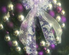 Purple Silver Christmas Wreath by ViennaSparkleWreaths on Etsy