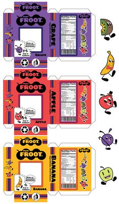 This was made for an assignment to study package design. I ended up with dried fruit. If I was a kid I wouldn't buy anything with the word fruit i. Printable Stickers, Cute Stickers, Paper Toys, Paper Crafts, Barbie, Journal Stickers, Aesthetic Stickers, Writing Paper, Graphic Design Posters