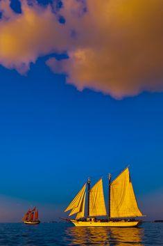 The Schooner Western Union at Sunset, off Key West, Florida Keys