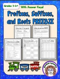 Prefix, Suffix, and Roots printables with answer keys FREE!