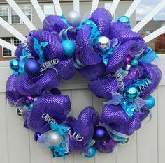 Purple Christmas Wreath  Metallic Purple Teal Silver Deco Mesh Wreath by WhatsOnYourDoor
