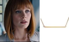 Jurassic World movie fashion and style: Click to find out where to get Claire's (Bryce Dallas Howard) gold bar necklace #jurassicworld #brycedallashoward