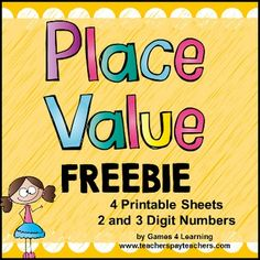 Place Value Free - from Games 4 LearningThis set contains 4 printable Place Value Worksheets for 2 and 3 Digit Numbers.On these place value worksheets students represent the numbers in a variety of ways. The numbers are written in word, colored in base 10 blocks, written as tens and ones or hundreds, tens and ones and more.